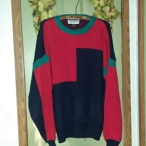 Vtg 1990s Acrylic Retro Color Block Sweater XL UNI